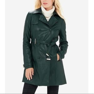 NWT green faux leather trench coat